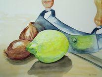 Zwiebeln, Messer, Malerei, Stillleben