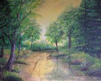 Malerei, Landschaft, Wald, Morgenstimmung