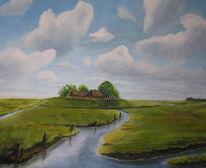 Malerei, Landschaft, Marsch