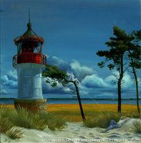 Leuchtturm, Surreal, Malerei, Ruhe
