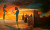 Endzeit, Sonnenuntergang, Ruine, Malerei