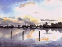 Malerei, Landschaft, See, Sonnenuntergang