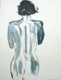 Rücken, Frau, Malerei, Acrylmalerei