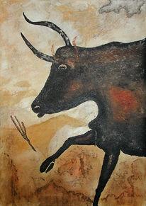 Wandmalerei, Höhle, Lascaux, Stier