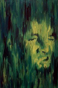 Acrylmalerei, Gesicht, Malerei, Grün