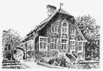 Zeichnung, Haus, Bleistiftzeichnung, Münster