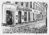 Bleistiftzeichnung, Häuser, Altstadt, Landschaft