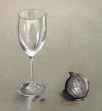 Kohlezeichnung, Glas, Weißhöhung, Stillleben