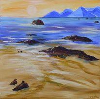 Malerei, Meer, Strand, Acrylmalerei