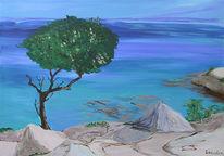 Aquarellmalerei, Meer, Malerei, Blau