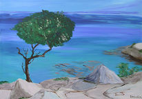 Acrylmalerei, Aquarellmalerei, Meer, Malerei