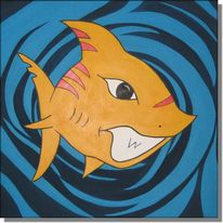 Malerei, Hai, Abstrakt, Tiger
