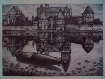Landschaft, Burg, Zeichnung, Zeichnungen