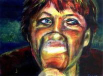 Angela merkel, Motivieren, Studentenmädchen, Malerei