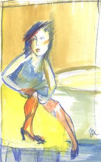 Skizze, Frau, Rot, Schnell
