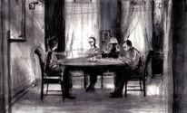 Tuschmalerei, Schatten, Raum, Studie