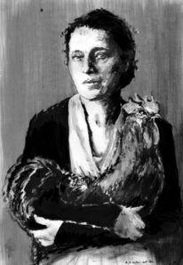 Meitner, Hahn, Tuschmalerei, Malerei