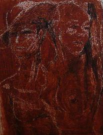 Frau, Rot, Kratzerei, Mischmasch