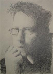 Malerei, Selbstportrait, Bleistiftzeichnung, Realismus