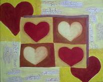 Rot, Herz, Malerei, Herzen