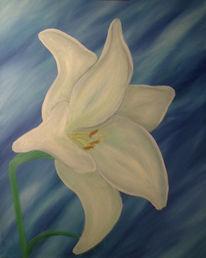 Stillleben, Weiß, Blau, Blumen