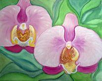 Orchidee, Grün, Blumen, Malerei