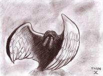 Fallen, Teufel, Zeichnung, Angel