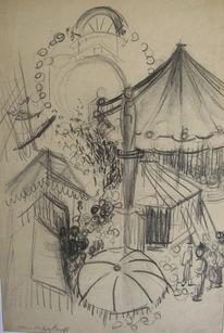 Skizze, Zeichnung, Zeichnungen, Markt