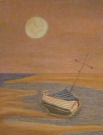 Boot, Strand, Zeichnung, Meer