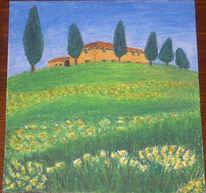 Zeichnung, Landschaft, Toskana, Wiese