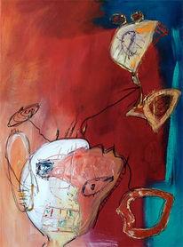 Abstrakt, Kopf, Malerei, Rot