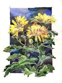 Blumen, Stillleben, Kontrast, Blätter