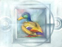 Malerei, Abstrakt, Ente