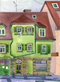 Alt, Malerei, Grün, Stadt