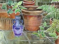 Pflanzen, Blau, Stadt, Blumentopf