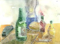 Malerei, Alltag, Flasche, Gelb