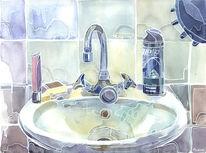 Gegenstände, Bad, Malerei, Waschbecken