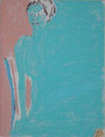 Pastellmalerei, Menschen, Türkis, Malerei