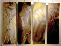 Malerei, Figural, Messing, Chromstahl