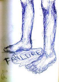 Zeichnung, Fuß, Pfütze, Gereihte