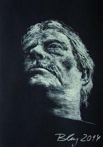 Zeichnung, Kreide, Selbstportrait, Zeichnungen