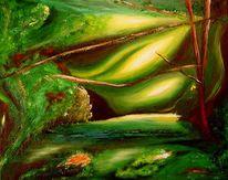 Acrylmalerei, Abstrakt, Grün, Malerei
