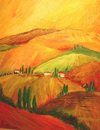 Malerei, Landschaft, Toskana