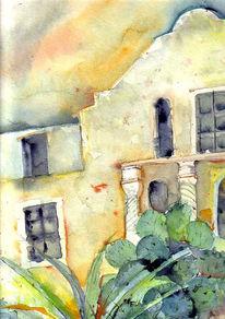 Malerei, Aquarellmalerei, Alamo, Fuchs
