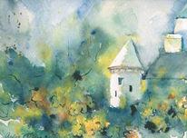 Landschaft, Aquarellmalerei, Schloss, Fuchs