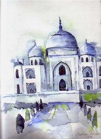 Landschaft, Taj, Aquarellmalerei, Malerei