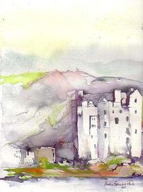 Schloss, Malerei, Schottland, Burg