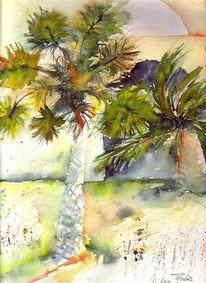 Landschaft, Malerei, Palmen