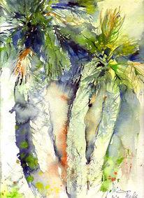 Aquarellmalerei, Meer, Urlaub, Fuchs