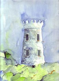 Aquarellmalerei, Ruine, Malerei, Turm
